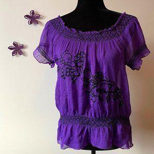 Boho Purple semi-sheer blouse Derek Heart sz M